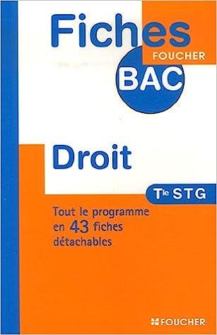 Livre gratuits FICHES BAC DROIT TERMINALE STG (Ancienne Edition) pdf
