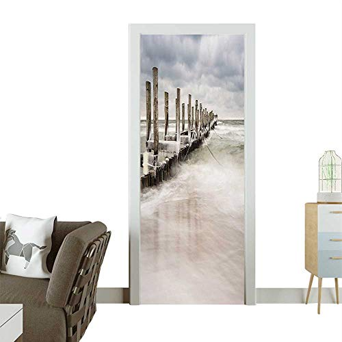 Door Sticker Wall Decals Z gst Germany Idyllic Scenery Frosty W TER Seashore White Tan Baby Easy to Peel and StickW31 x H79 INCH ()