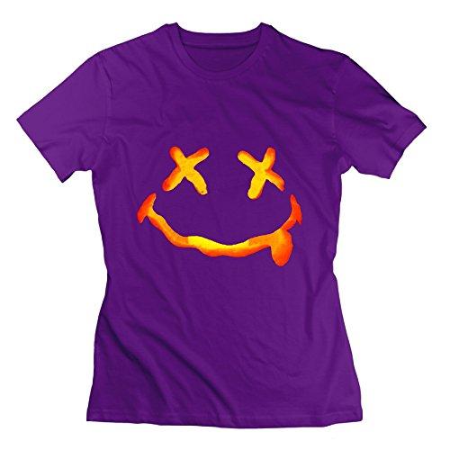 Women's New Arrival Halloween Costumes Ideas Pumpkins Face Tshirt Size M Color Purple