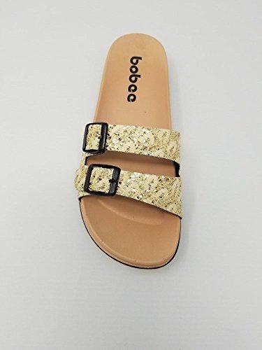 Strap Sandals Sparkly Gold Beach Slip Womens Flip On Flop pqFWwxWz5S