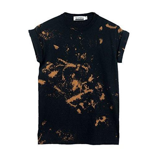 Black Bleach Tie Dye Unisex Mens Womens T-shirt