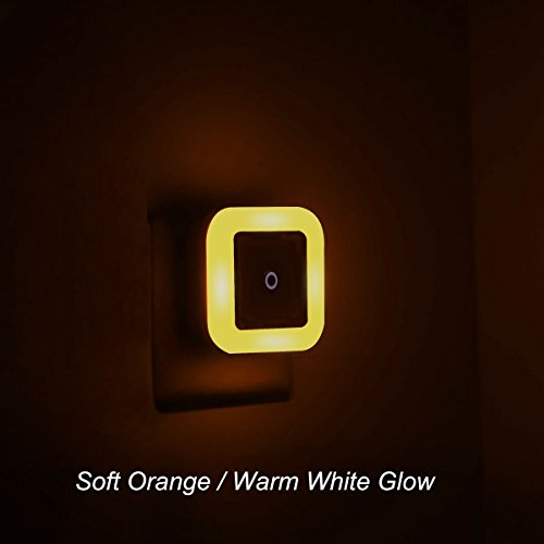 Soft Orange/Warm White/Amber Glow, Plug In LED Night Light with Dusk to Dawn Sensor [Pack of 2]