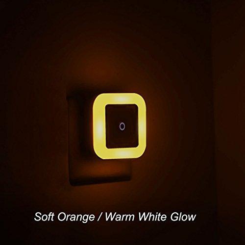 Soft Orange/Warm White/Amber Glow, Plug In LED Night Light with Dusk to Dawn Sensor [Pack of 2]
