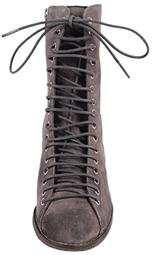 Jeffrey Campbell 3589 Ki Grey Distressed Suede Chunky Heel Lace Up Combat Bootie OR04pk