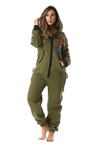 #FollowMe 6457-OLV-L Adult Onesie With Patches Pajamas (Adult Fleece Pajamas)