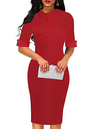 oxiuly Women's Retro Bodycon Knee-Length Formal Party Sheath Dresses Pencil Dress OX276 (XXL, Red Solid)