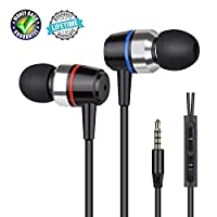Earbuds Stereo Earphones In-Ear Headphones Earbuds with Microphone Mic and Volume Control Noise Isolating Wired Ear buds For iPhone Android Phone iPad Tablet Laptop(Black)