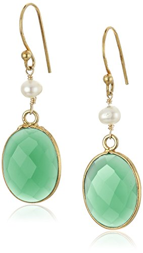 Faceted Green Onyx Oval Shape Bezel with White Freshwater Cultured Pearl and Gold over Silver Drop Earrings