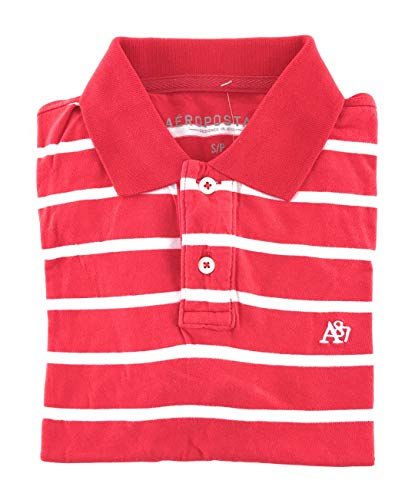 Aeropostale Men's Striped Polo A87 Logo Small Red