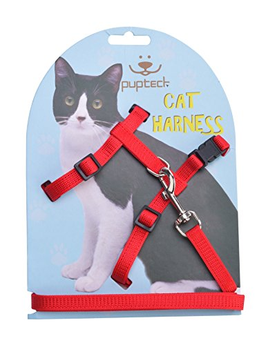 Adjustable Cat Harness Nylon Strap Collar with Leash Red PUPTECK
