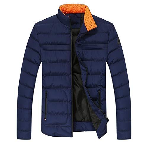 Collare Xinheo Uomini Tasche Cotone Cappotto Blu Ispessimento Solidi Di Stand Scuro Giù qxw0t4nOB