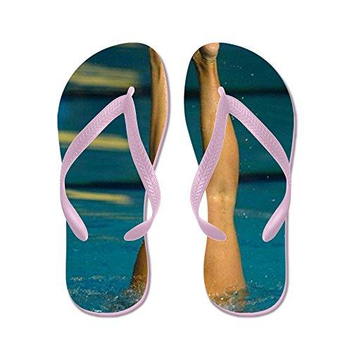Cafepress Synchro Simning 01 - Flip Flops, Roliga Rem Sandaler, Strand Sandaler Rosa
