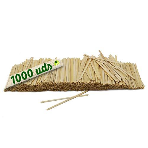 1000 paletinas de cafe de Madera Palitos de cafe Desechables, Palitos removedores de cafe biodegradables de 14 cm de Longitud, agitadores de cafe y te