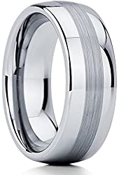 Tungsten Wedding Band Ring Brushed Tungsten Ring 8mm Comfort Fit Size 5-15
