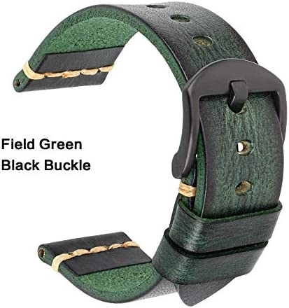 TGBZ ユニバーサル時計手作り時計バンド20ミリメートル21ミリメートル22ミリメートル23ミリメートル24ミリメートルレザー腕時計バンド (Band Color : Green Black, Band Width : 21mm)