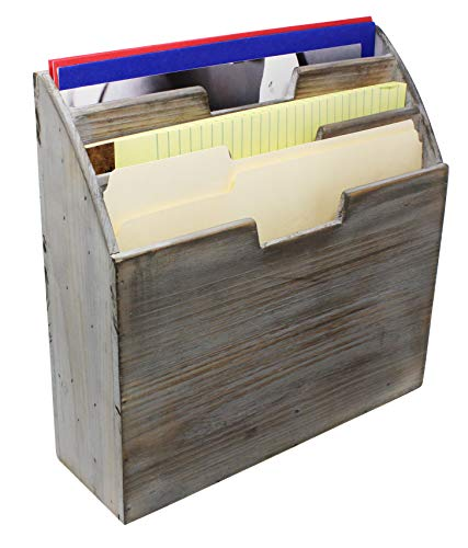 Vintage Rustic Wooden Office Desk Organizer & Vertical Paper File Holder For Desktop, Tabletop, or Counter - Distressed Torched Wood – For Mail, Envelopes, Mailing Supplies, Magazines, or File Folders by Executive Office Solutions (Image #4)'