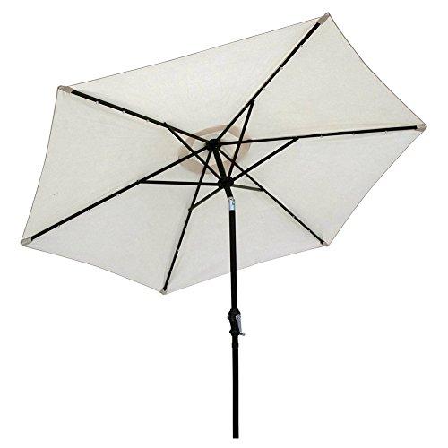 Sun-Ray 9' Solar Lighted Patio Umbrella, Buff Beige