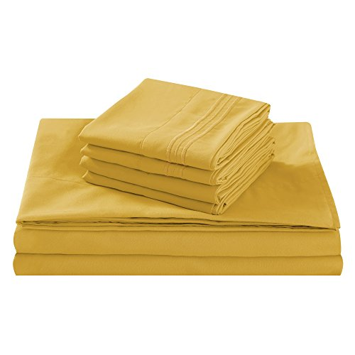 Queen Size Bed Sheet Set, Gold, 100% Soft Brushed Microfiber, 1800 Series Luxury Platinum Collection, Deep pocket, Hypoallergenic, Wrinkle Free, Breathable, 6 Piece Set, Fifth Avenue - Collection Gold