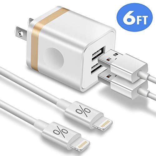 FIMARR Dual USB Wall Charger Plug Block with 2-Pack Flexible Charger Cable 6ft Compatible with iPad and iPhone XS Max XR X 8/7/6 Plus SE 5S 5C