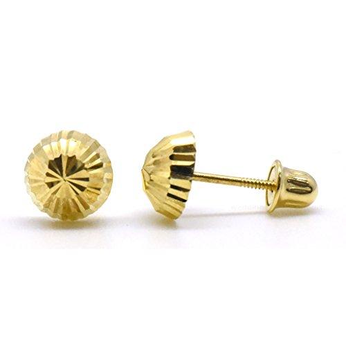 Unique 14K Yellow Gold Half Disco Diamond Cut Ball Studs Screw-Back Earrings 6mm