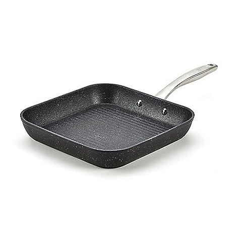 Bialetti Titan Durable resistente aluminio antiadherente de acero inoxidable se puede lavar en lavavajillas. Paleta de albañil cuadrado sartén en negro: ...