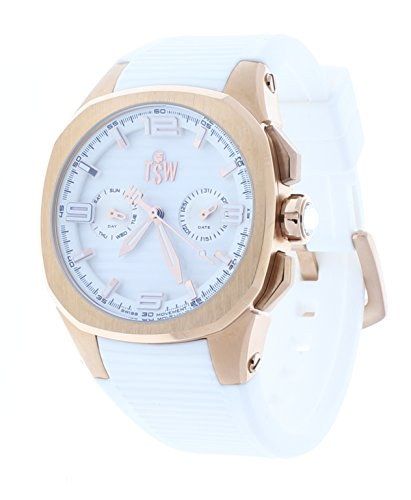 Technosport Day-Date White Rubber Strap 38mm Rose Gold Case Women's Watch TS-100-PP2
