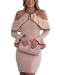 Women Elegant Long Sleeve Halter Slim Bodycon Party Dress Plus Size