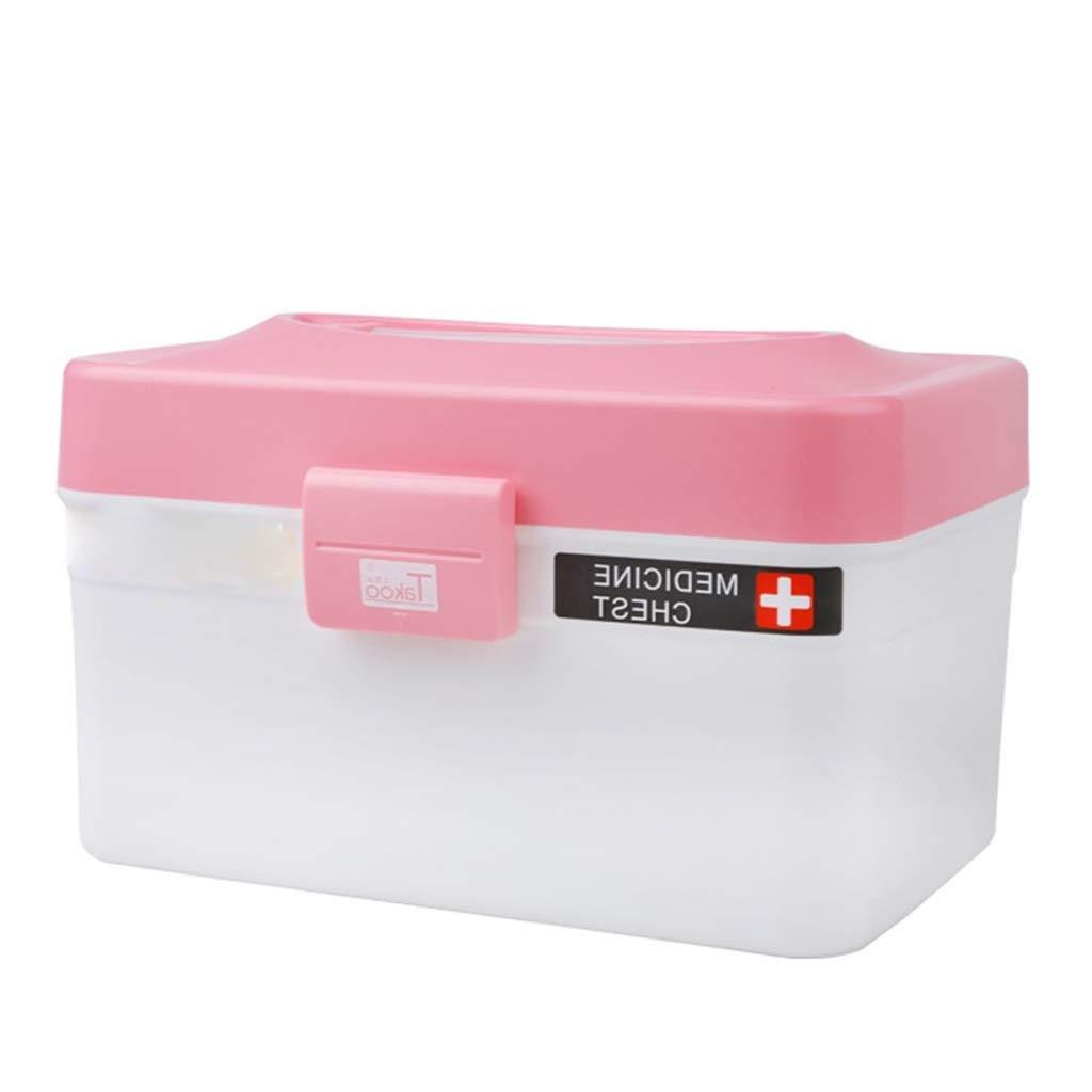 LSXUE Household Medicine Storage Box Thick Plastic Medicine Sundries Storage Box Kitchen Bathroom Sundries Storage Box Cosmetic Storage Box (Color: Pink)
