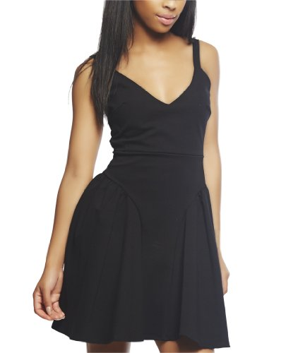 Wet Seal Women's Shirred Hip Tank Skater Dress M Black
