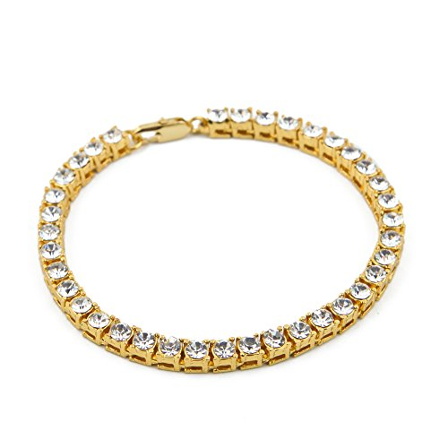 (HongBoom Hot Hip Hop Jewelry 14K Gold Plated CZ CRYSTAL Fully Iced-Out 5mm Bracelet (Gold))