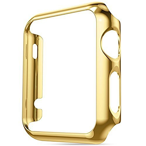Apple Watch Case, Imymax Ultra-Thin PC Plating Bumper Frame iWatch Protective Cover Case for Apple Watch Series 1 All Version - Gold - Plains White Hours Mall