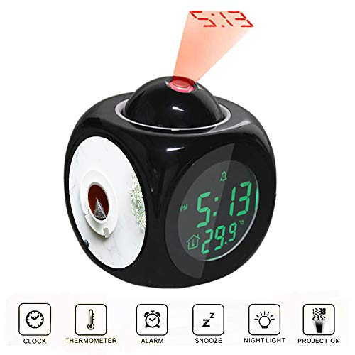Projection Alarm Clock LCD Digital LED Display Talking with Voice Thermometer Function Desktop Flat Lay Photography of Tea in White Teacup with Saucer -