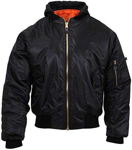Rothco Hooded MA-1 Flight Jacket, S Black