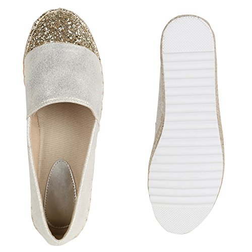 Stiefelparadies Damen Espadrilles Bast Slippers Nieten Plateau Schuhe Slip Ons Flandell Creme Berkley