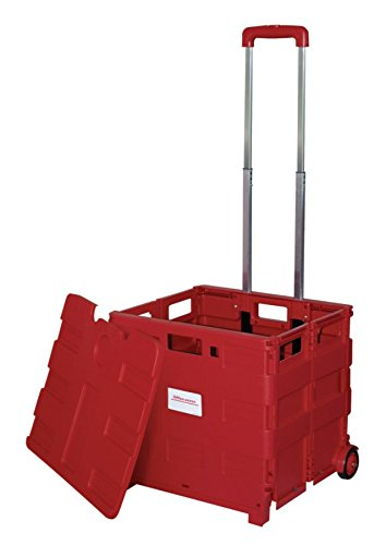 Office Depot Mobile Folding Cart With Lid, 16in. x 18in. x 15in, Red, 50802