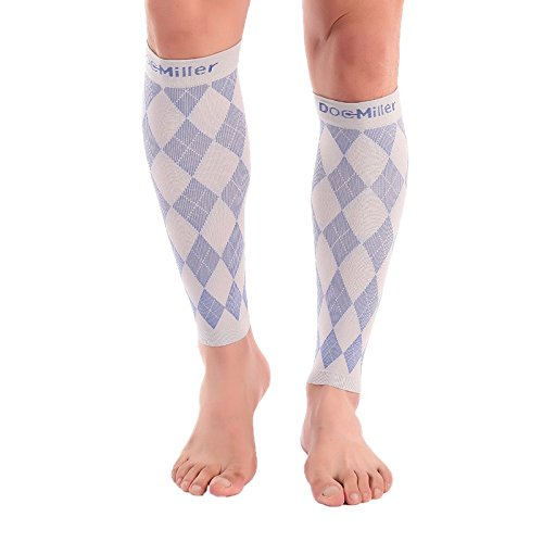 (Doc Miller Premium Calf Compression Sleeve 1 Pair 20-30mmHg Strong Calf Support Graduated Pressure for Sports Running Muscle Recovery Shin Splints Varicose Veins (Blue.Gray, 2-Pack, XX-Large))