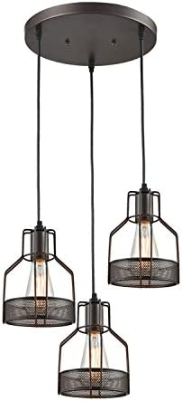 Truelite Industrial 3 Light Dining Room Pendant Rustic Oil Rubbed Bronze Wire Cage Hanging Light Fixture