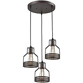 truelite industrial 3 light dining room pendant rustic oil rubbed bronze wire cage hanging light fixture - Dining Room Hanging Light Fixtures