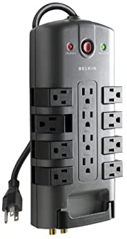 Belkin Surge Power Strip Protector - 8 Rotating & 4 Stationary AC Multiple Outlets - 8 ft Long Heavy Duty