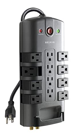 Belkin 12-Outlet Pivot-Plug Power Strip Surge Protector with 8-Foot Power Cord, 4320 Joules - Outlet Metal Power Strip