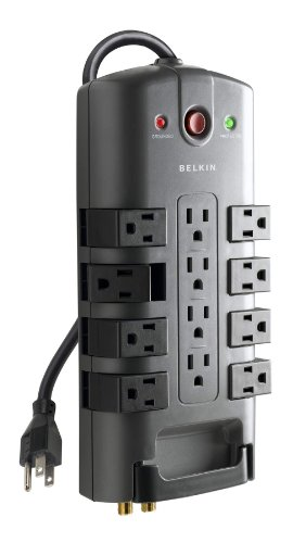 - Belkin 12-Outlet Pivot-Plug Power Strip Surge Protector with 8-Foot Power Cord, 4320 Joules (BP112230-08)