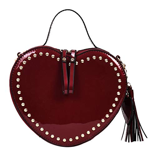 Heidi Bag Heart Shape Purse Cute Rivet Shoulder Handbag Tote Shining Evening Clutch