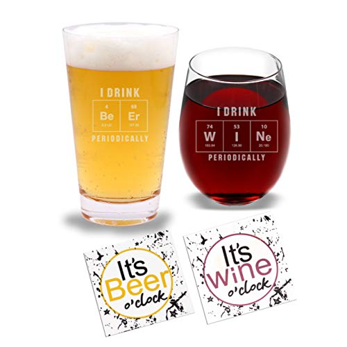 I Drink Be Er & W I Ne Periodically - Beer Pint Glass & Wine Glass Combo with Coaster Set and Gift Box - Funny Novelty Present for Wedding Engagement Housewarming Couples