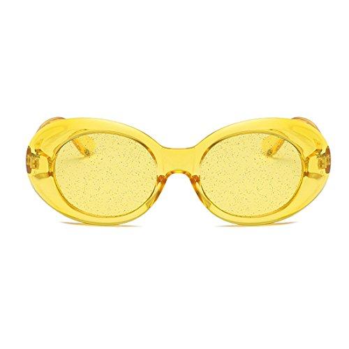 sol Amarilla Lens Amarilla Eyewear Gafas Tinted Oval Yefree Vintage Película Thick de Transparente Retro Frame Glasses SPqEEZwRB