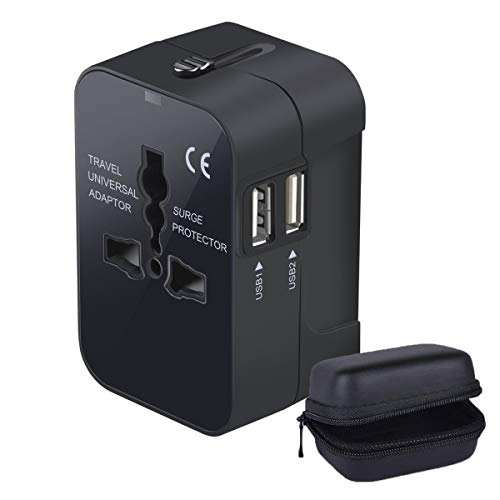 LKY DIGITAL Travel Adapter, Worldwide All in One Universal Power Adapter AC Plug International Wall Charger with Dual USB Charging Ports for US EU UK AUS Europe Cell Phone, with Carrying Case (Black)