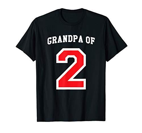Grandpa of 2 Grandchildren Baseball Jersey Papa Shirt Gift