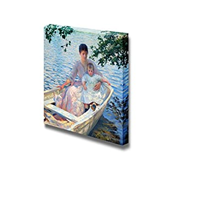 Mother and Child in a Boat by Edmund Charles Tarbell - Canvas Print Wall Art Famous Painting Reproduction - 24