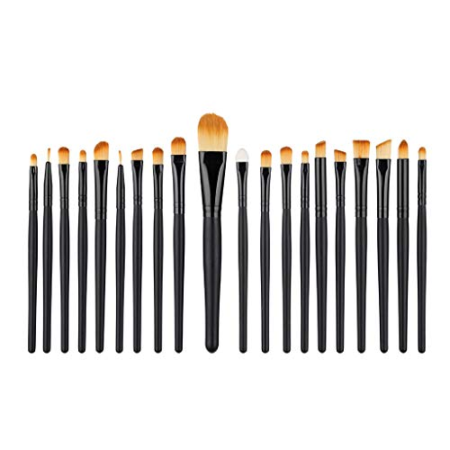 Sussmai 20 Pcs Wooden Handle Makeup Brush Set Tools Make-up Toiletry Kit Wool Make Up Brush Set(Black)]()