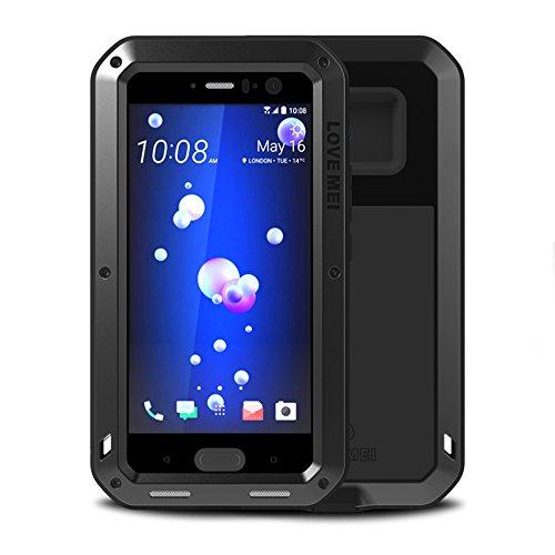 HTC U11 Case,Feitenn Hybrid Armor Alloy Aluminum Metal Bumper Case Gorilla Glass Soft Rubber Military Heavy Duty Shockproof Hard Water Resistant Case for HTC U11 (Black)