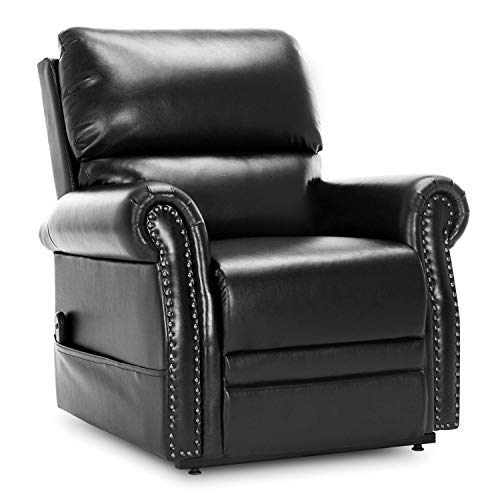 Lift Chair Recliner Lay Flat,JULYOFX Infinite Position Faux Leather Electric 350 LB Heavy Duty Lift Recliner Chair Lifts You Up W/Remote Stand Up Lift Chair Metal Frame W/Storage Pocket Black ()